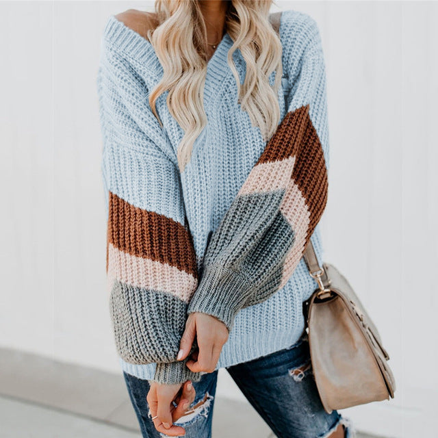 Knitted Sweater Lantern Sleeve V Neck Sweater