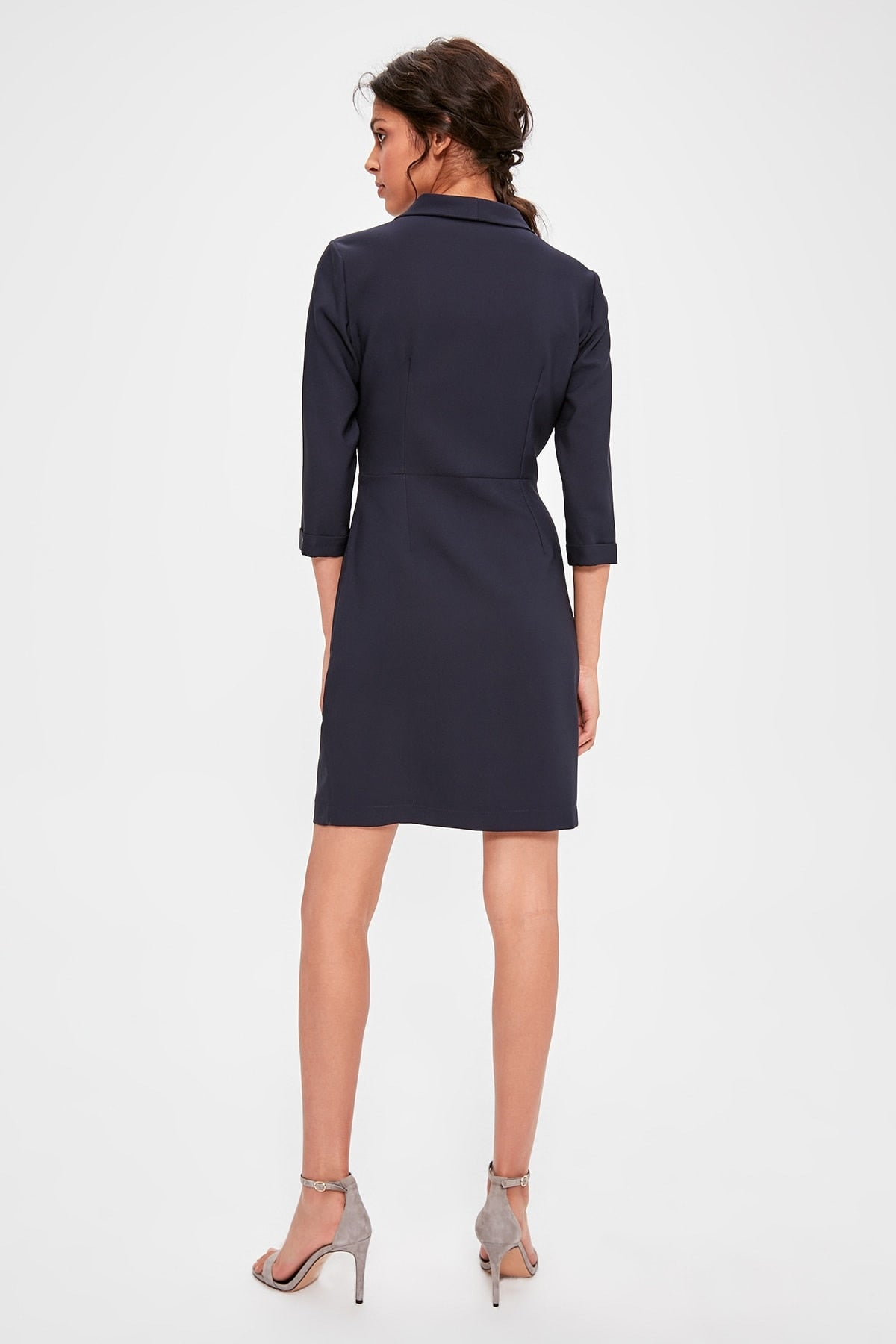 Navy Blue Double Breasted Collar Dress - emuuz.com