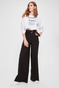 Salmon Pink High Waist Straight Leg Pants