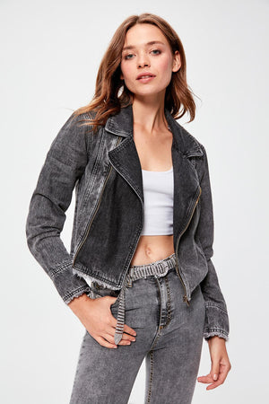 Black Biker Denim Jacket