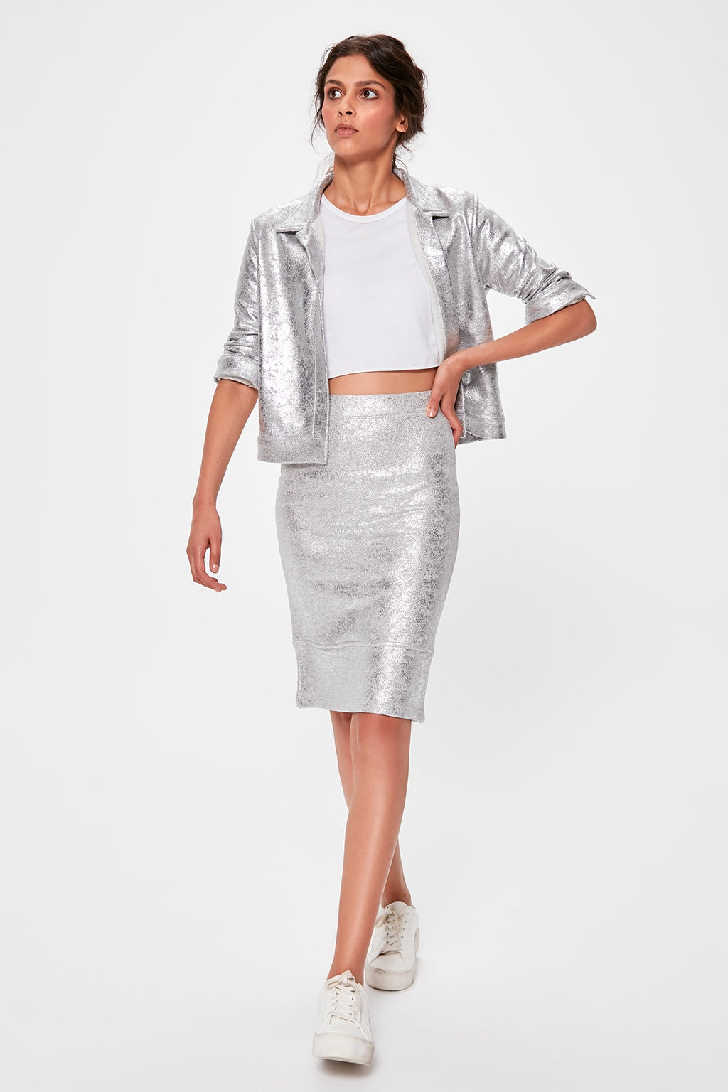 Silver Leafing Knitted Skirt