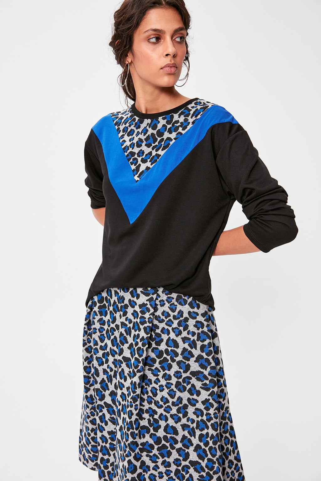 Black Leopard Pattern Blocky Knitted Sweatshirt