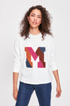 Ecru Letter Embroidered Basic Knitted Sweatshirt