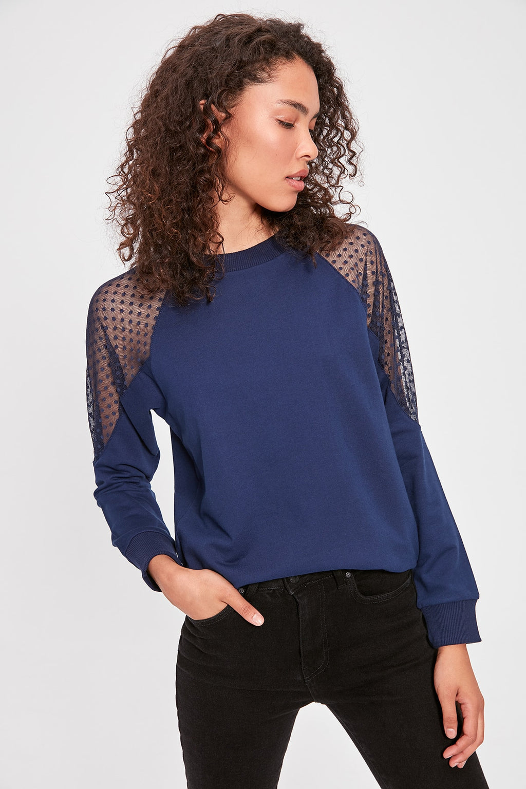 Indigo Tulle Detailed Basic Knitted Sweatshirt
