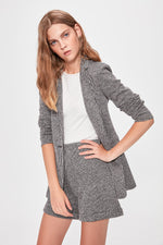 Gray Striped Knitted Jacket - emuuz.com