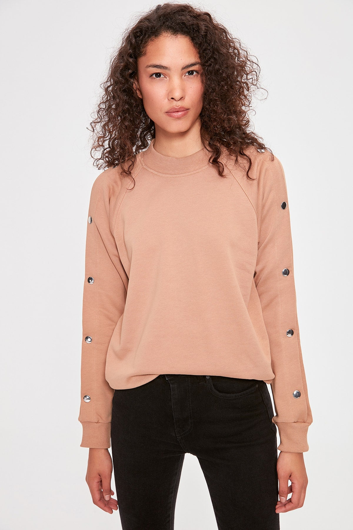 Camel Studs Detailed Basic Knitted Sweatshirt