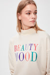 Beige Embroidered Knitted Sweatshirt
