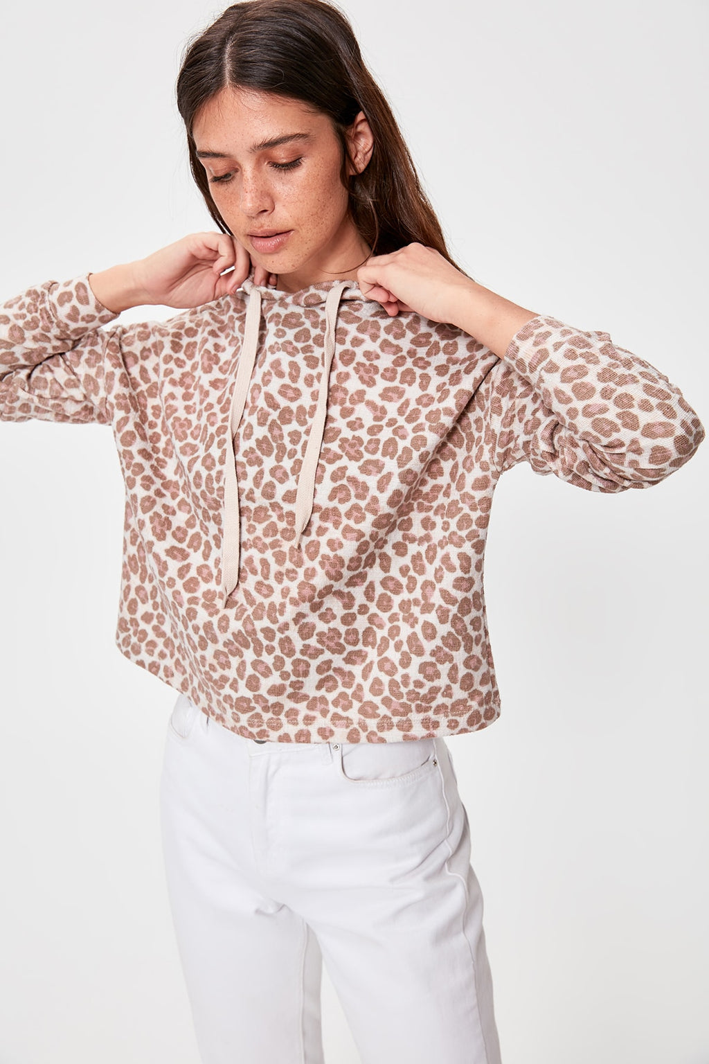 Leopard Pattern Knitted Sweatshirt