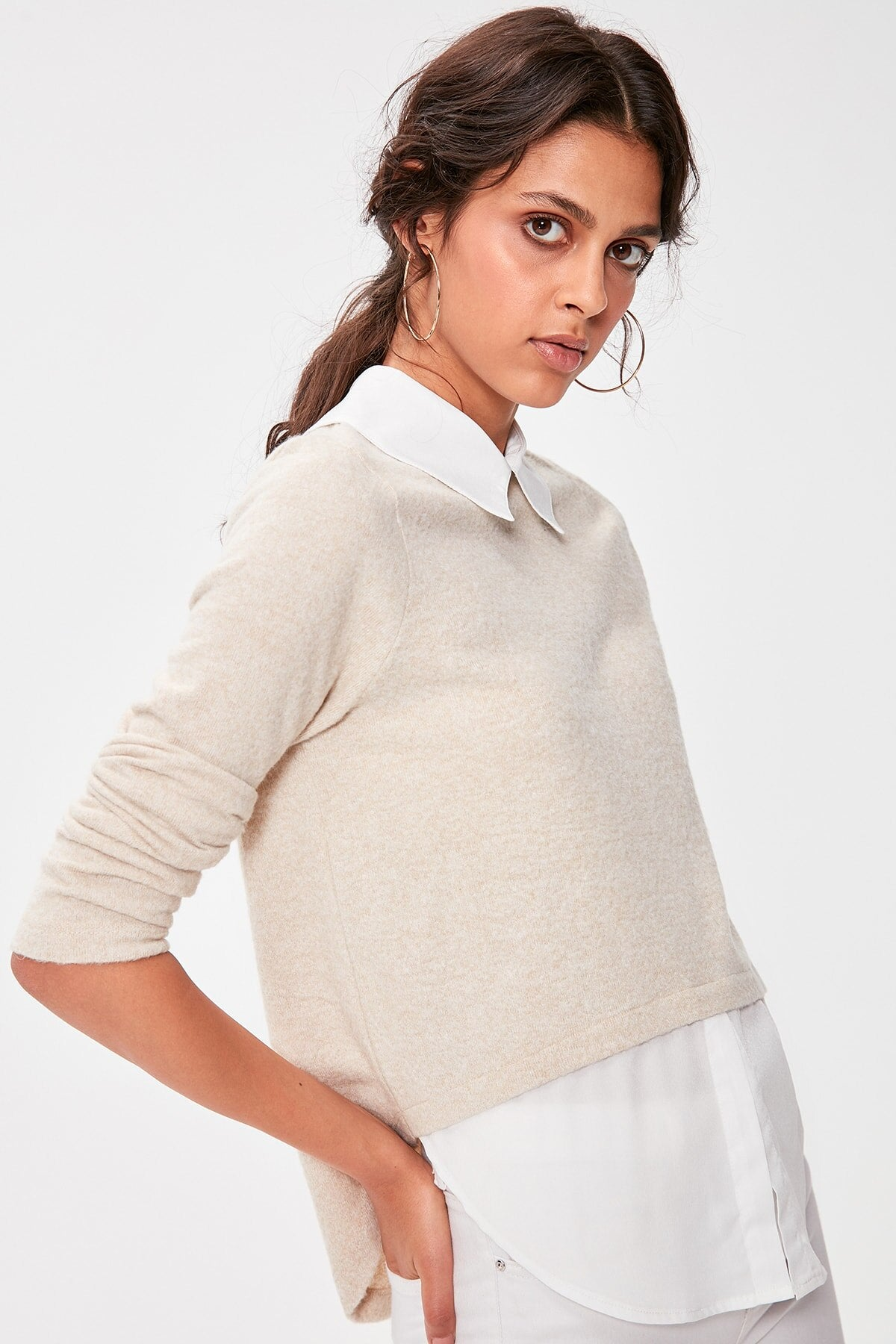 Camel Shirt Collar Knitted Blouse - emuuz.com