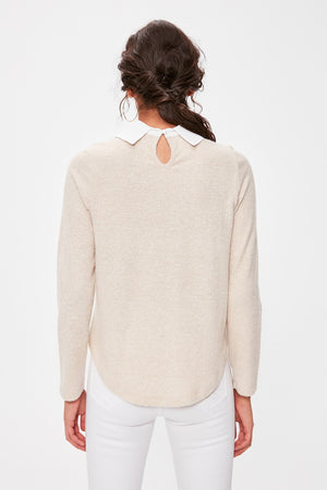 Camel Shirt Collar Knitted Blouse