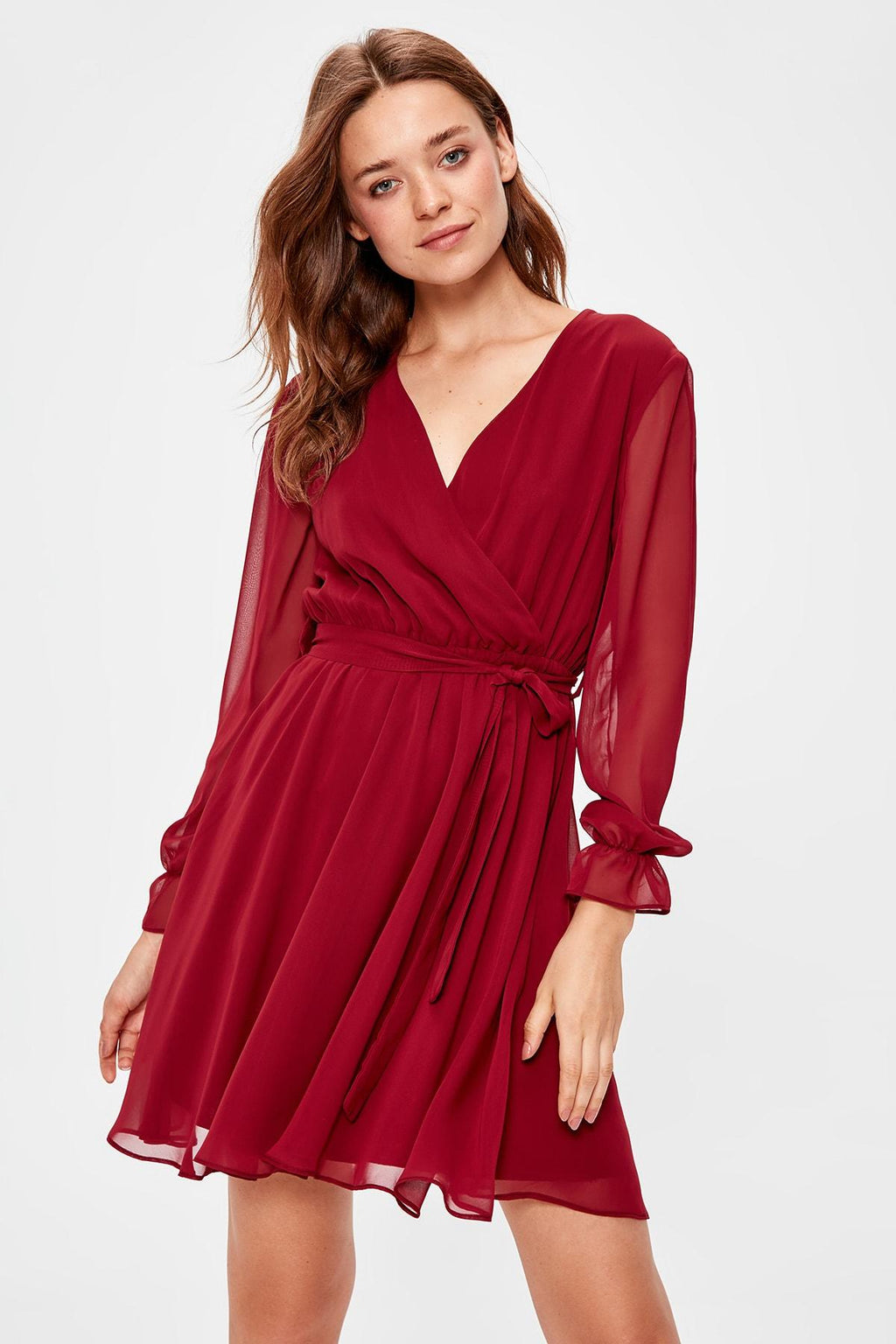 Burgundy Belted Dress - emuuz.com