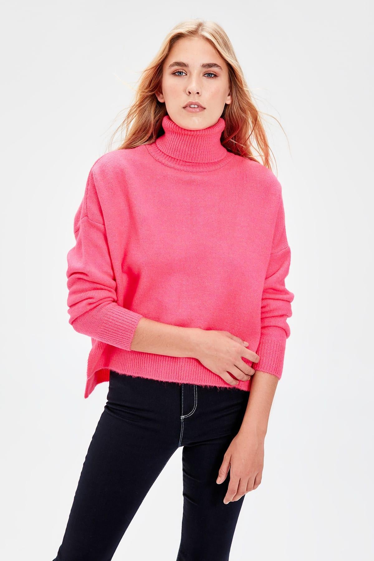 Back Zipper Sweater Turtleneck Pullovers
