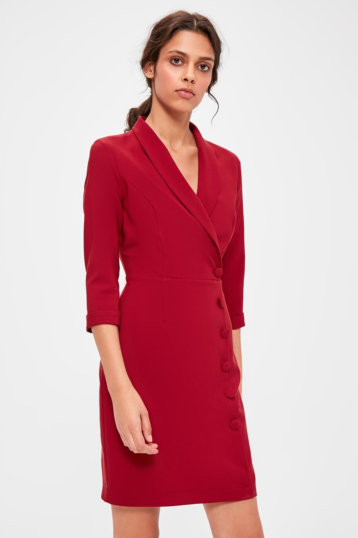 Burgundy Double Breasted Collar Dress