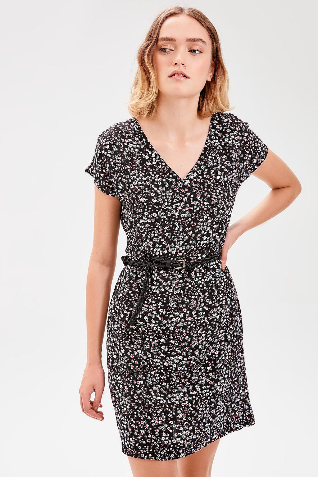 Black Flower Print Dress - emuuz.com