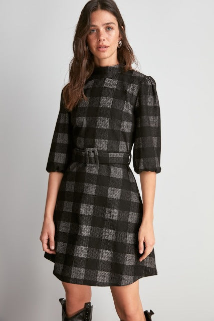 Belt Detail Plaid Pattern Knitted Dress