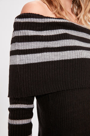 Striped Carmen Collar Sweater Dress - emuuz.com