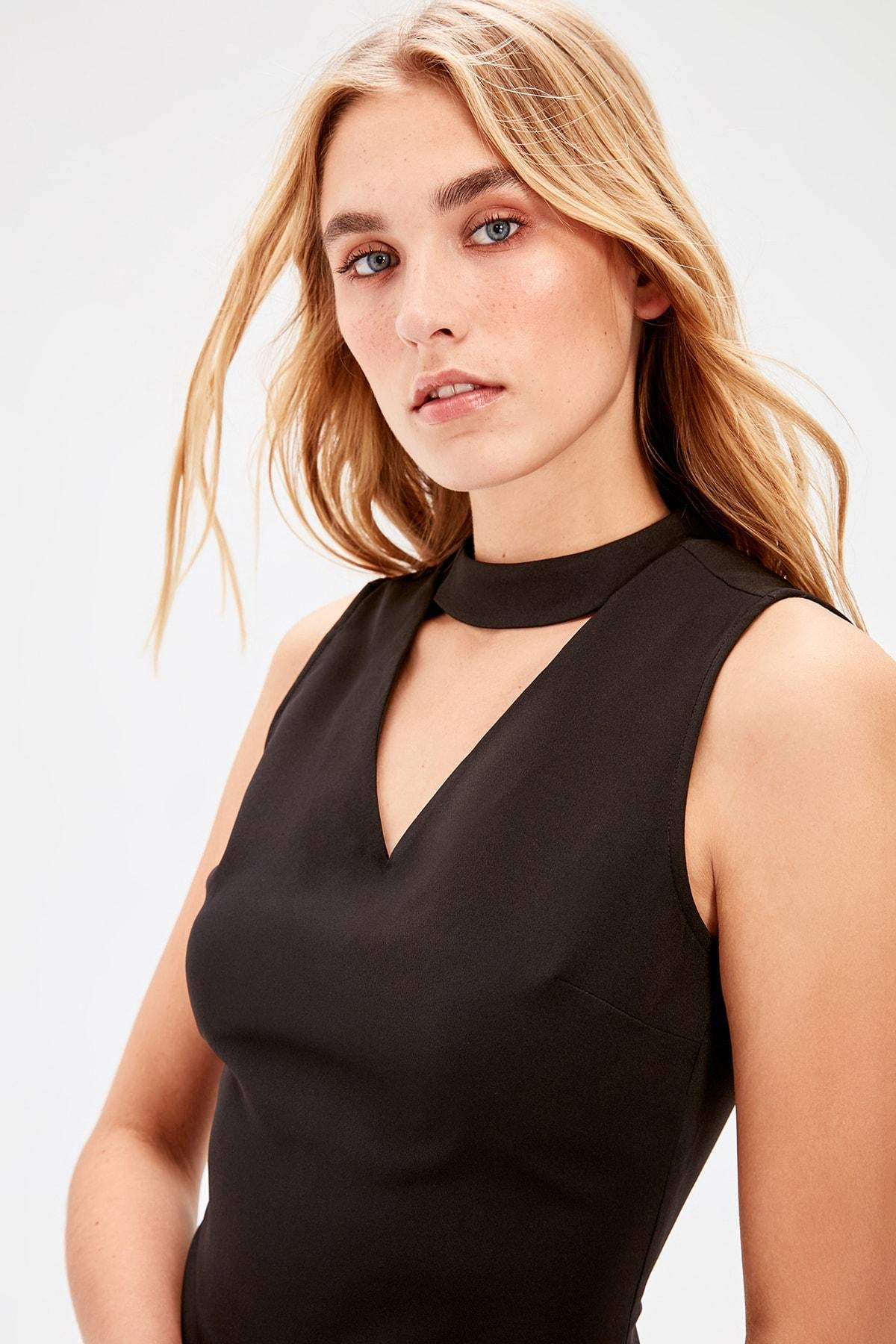 Black Collar Detail Dress