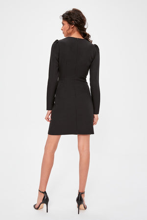 Black Double Breasted Collar Dress - emuuz.com