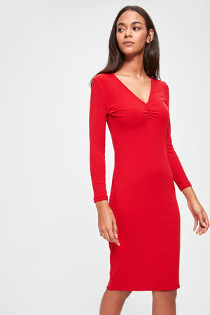 Shir Detailed Ribbed Knit Dress