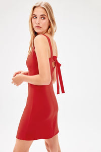 Red Lacing Detail Dress