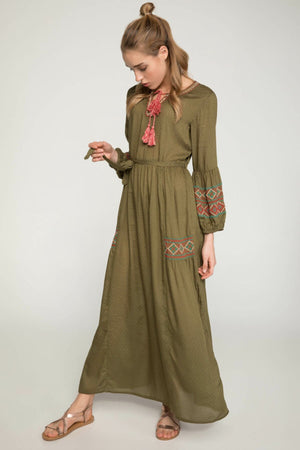 Lantern Sleeve Lace-up Maxi Dress