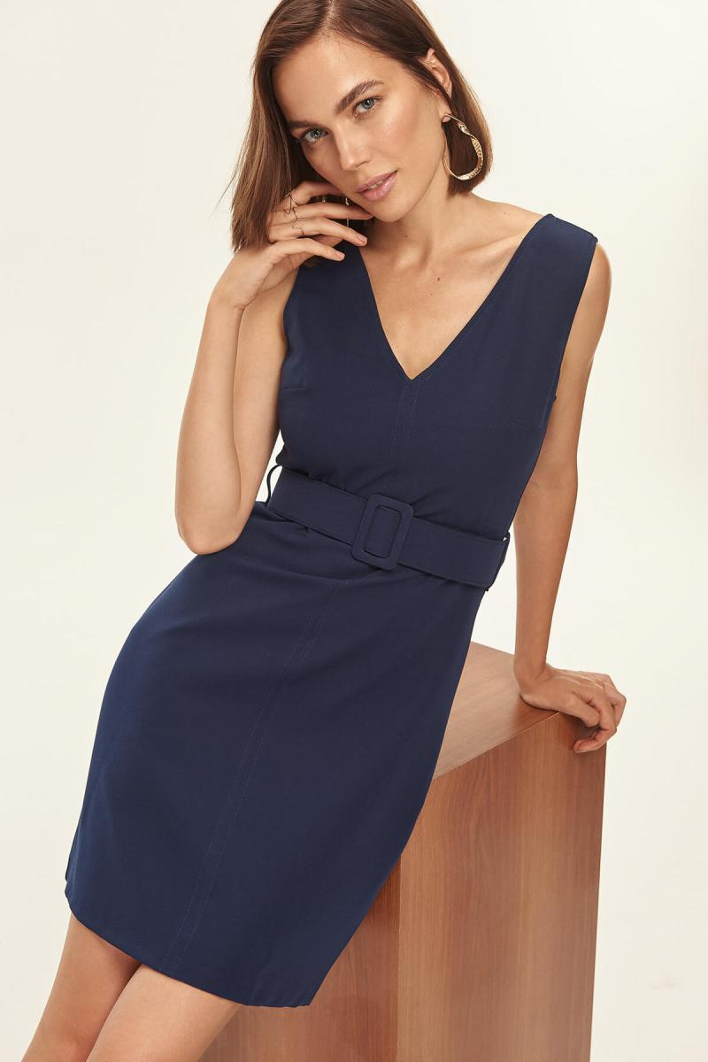Navy Blue Belt Detail Dress - emuuz.com