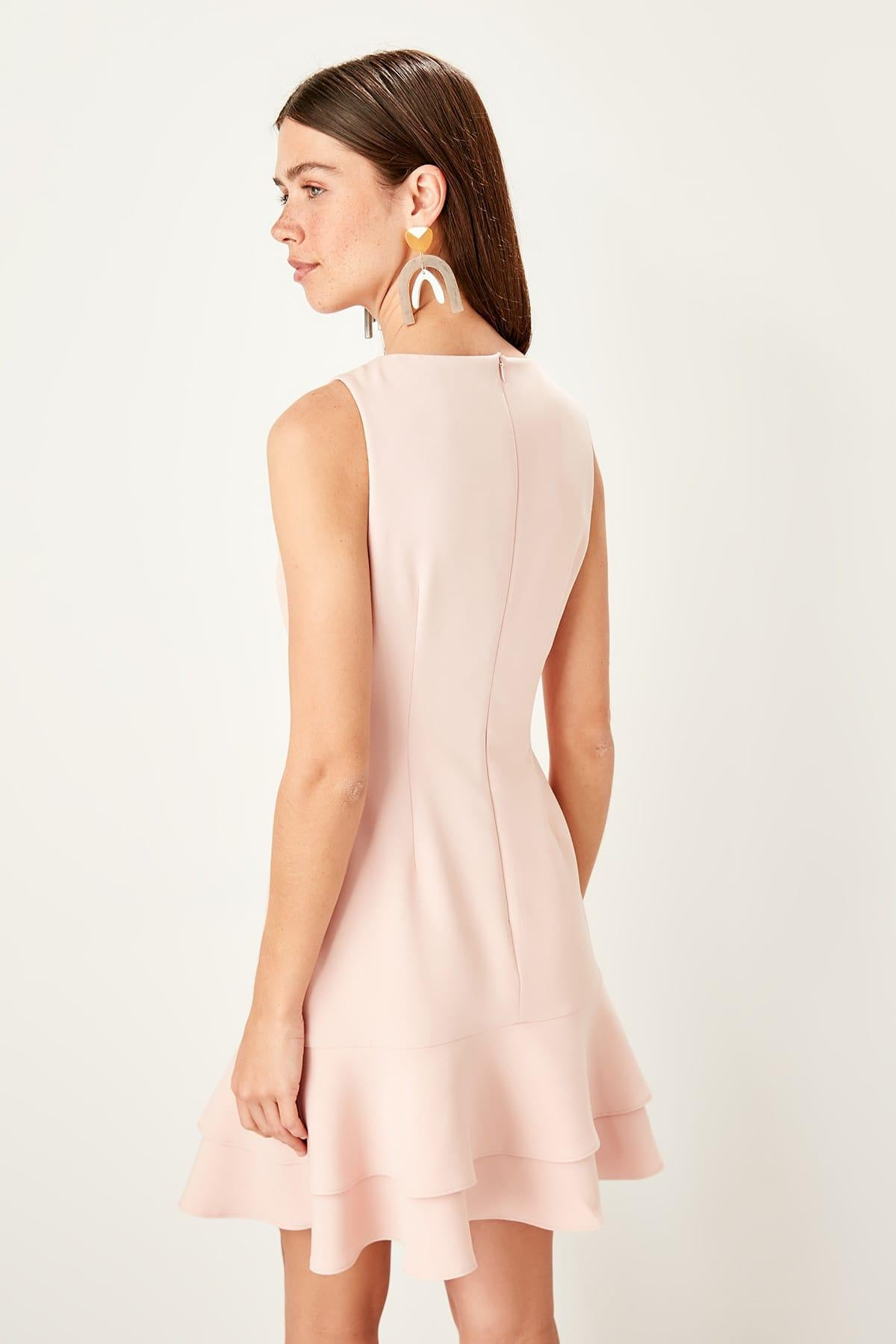 Powder Button Detail Dress - emuuz.com
