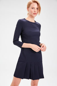 Navy Blue Battery Detail Dress - emuuz.com