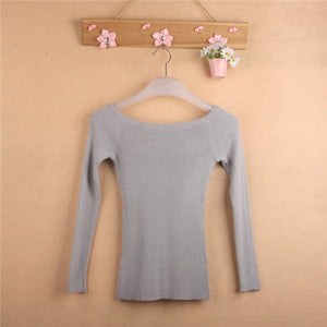 Slit Neckline Strapless Sweater