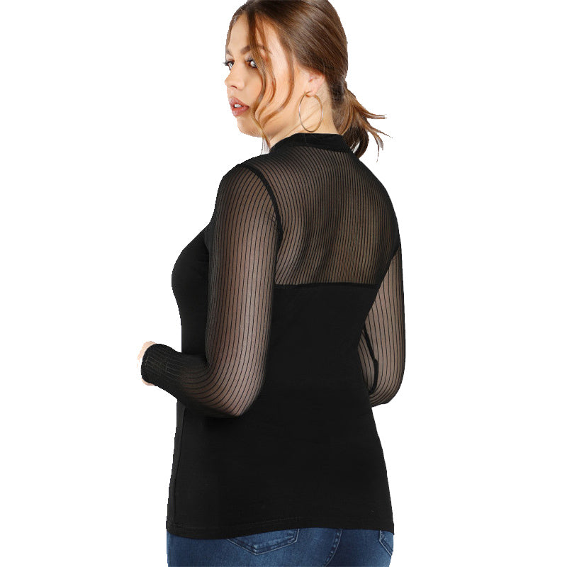 Black Partly Transparent Plus Size Blouse