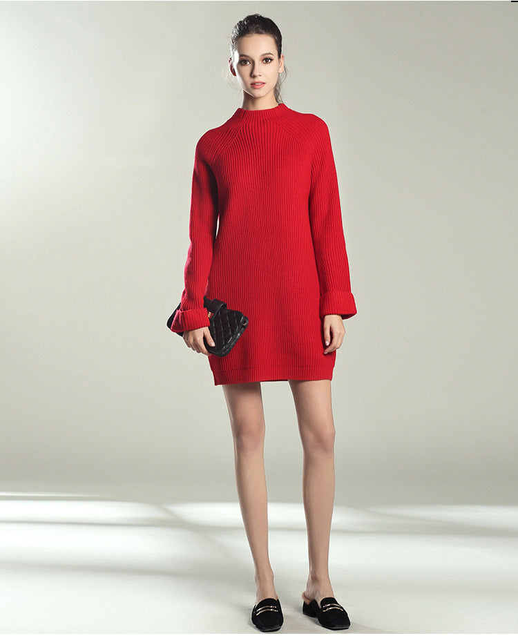 O-neck Pullover Knitted Dress