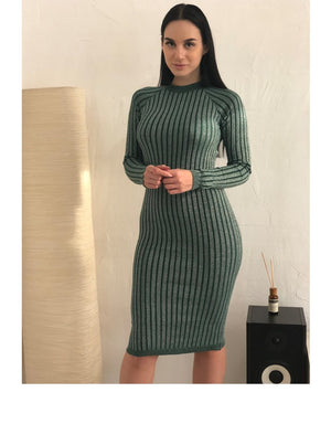Elastic Striped Skinny Knitted Dress