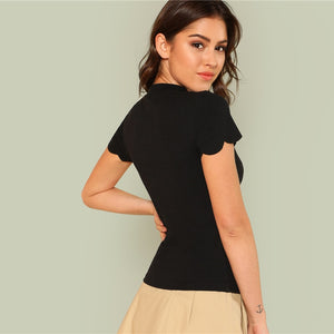 Mock Neck Scallop Top