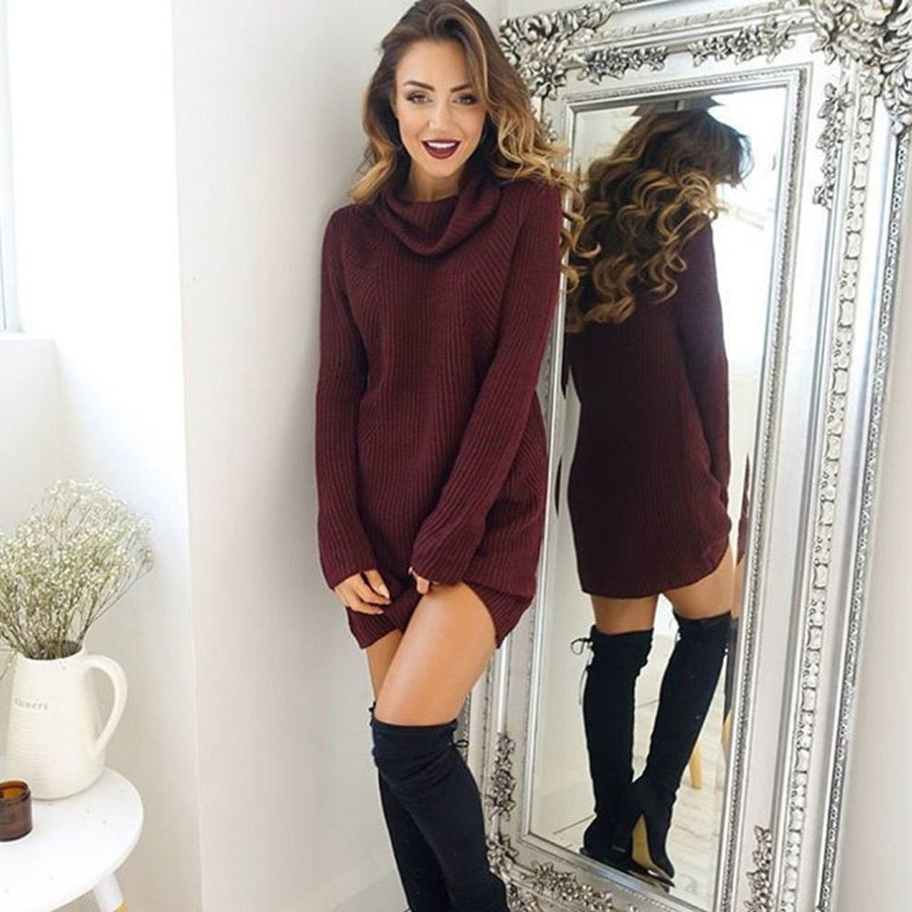 Turtleneck Knitted Thin Sweater Dress