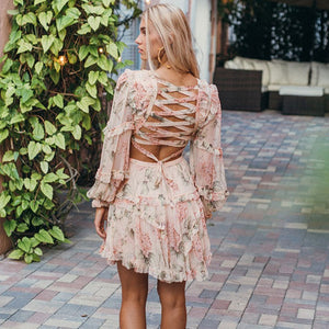 Floral Print Backless Dress