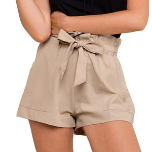 High Waist Belted Casual Shorts