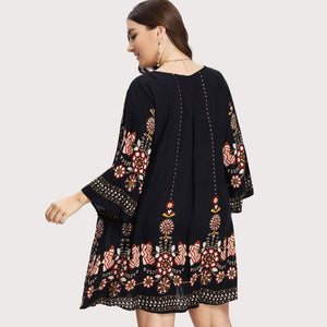 Black Floral Tunic Dress
