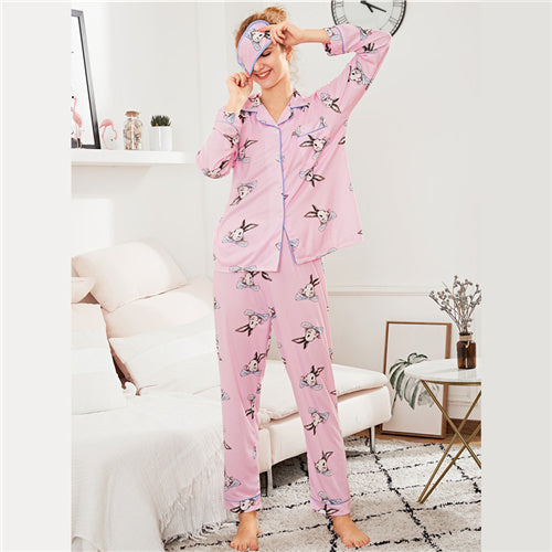 Rabbit Pajamas With Eye Mask