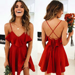 Backless V-neck Mini Red Dress