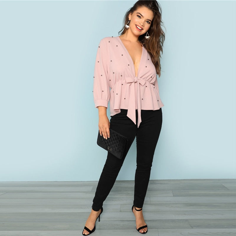Pink Deep V Neck Plus Size Blouse