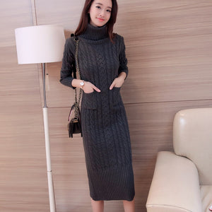 Turtleneck Maxi Sweater Dress