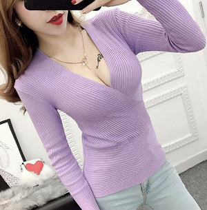 Deep V Neck Knitted Cashmere Sweater