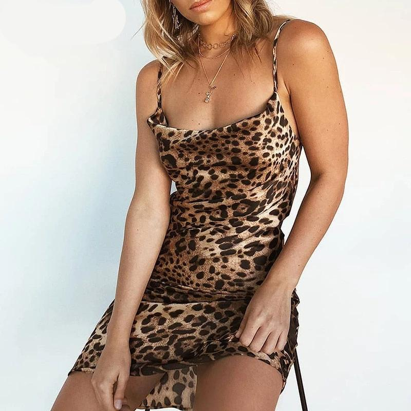 Leopard V-Neck Spaghetti Strap Mini Dress