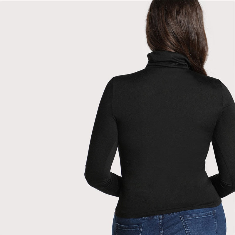 Plus Size Black High Neck Long Sleeve Bluose