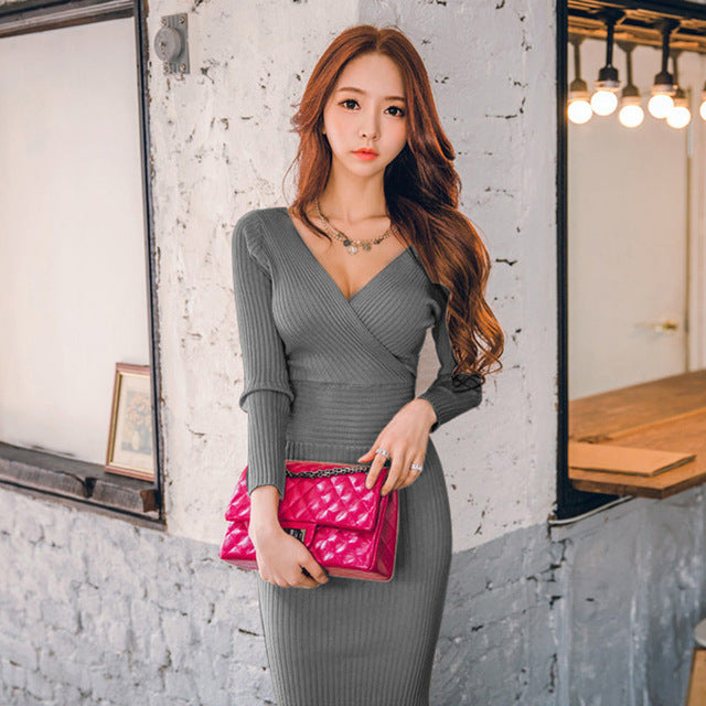 Knitted Cotton Skinny Sweater Dress