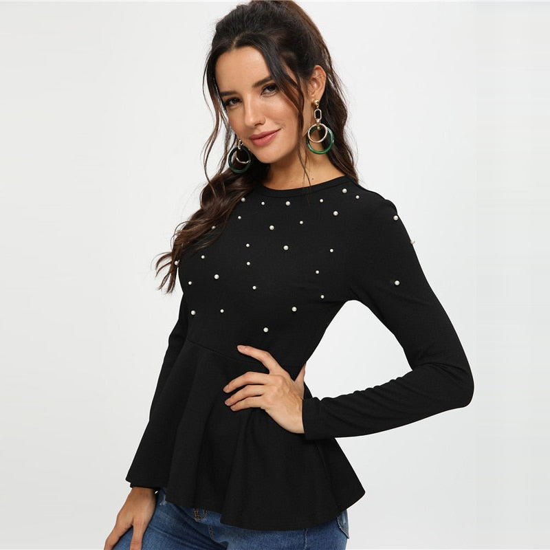 Round Neck Flare Blouse
