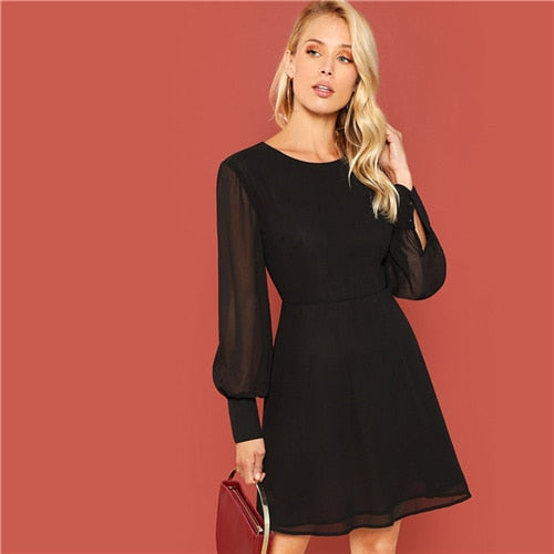 Casual Black Work Dress