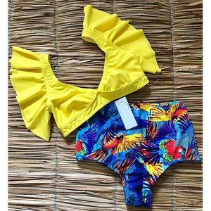V-neck High-waisted Bikini