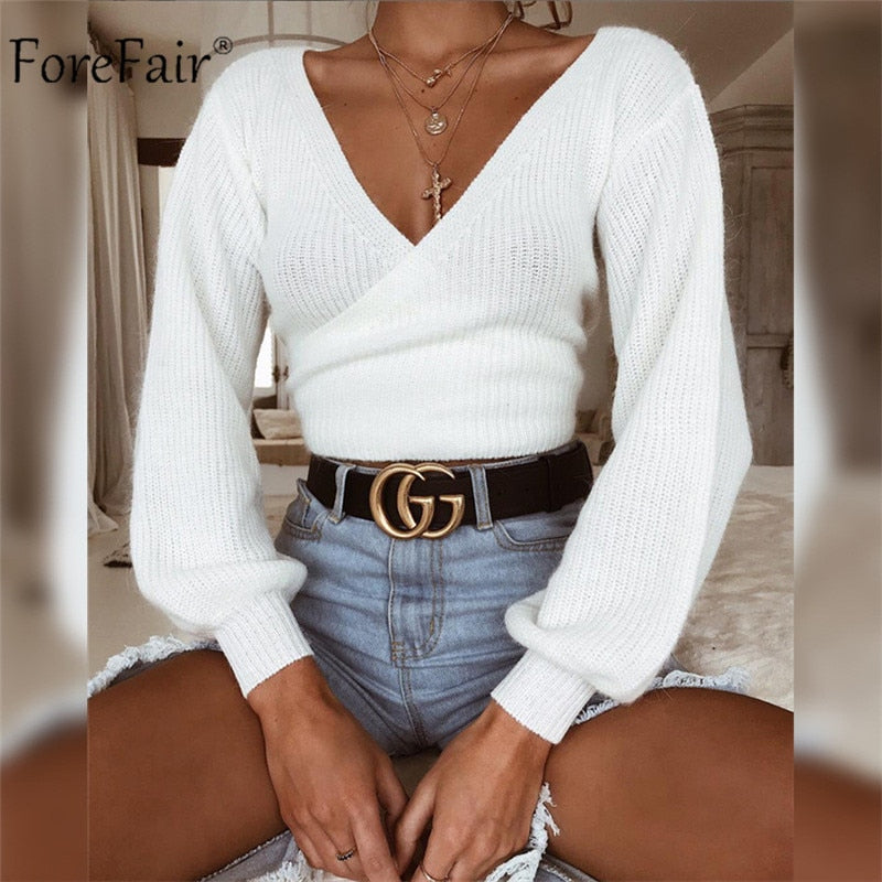 Off Shoulder V Neck Knitted Sweater