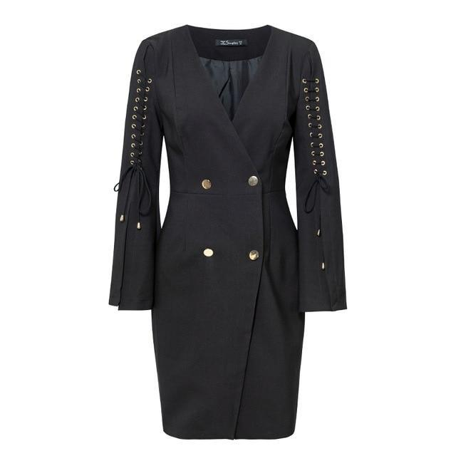 Lace up Split Blazer Dress